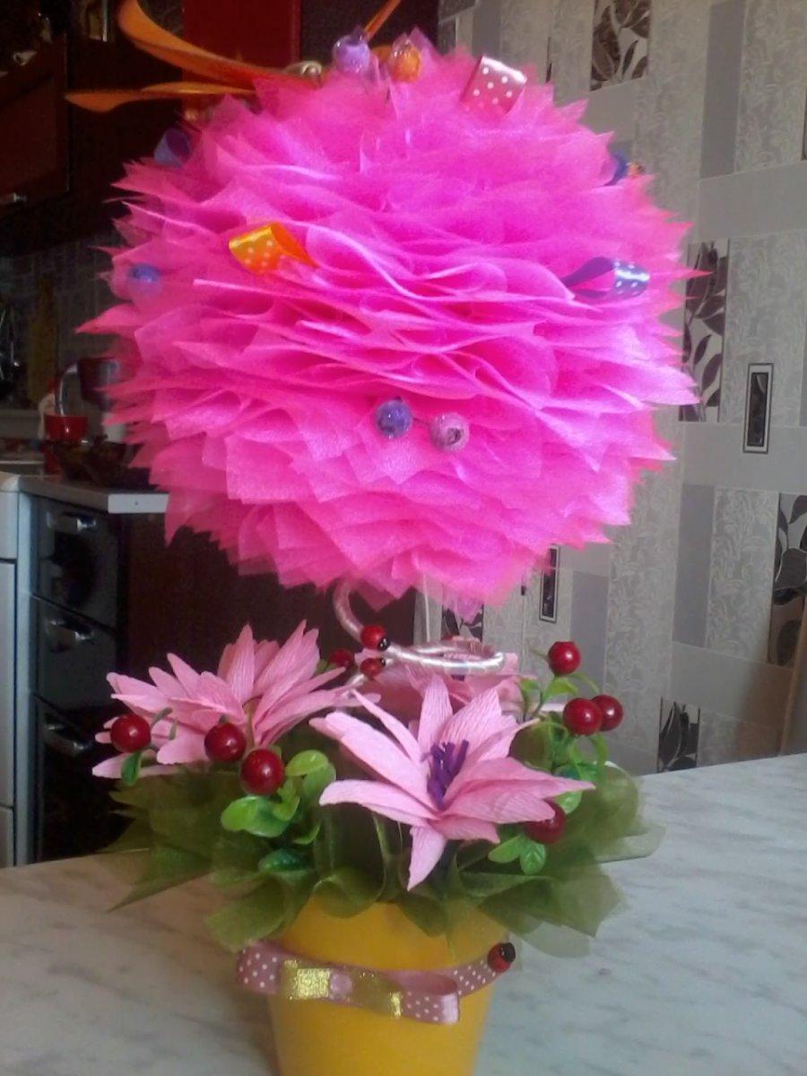Топиарий из цветов из органзы фото