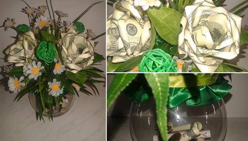 поделки из купюр денег розы