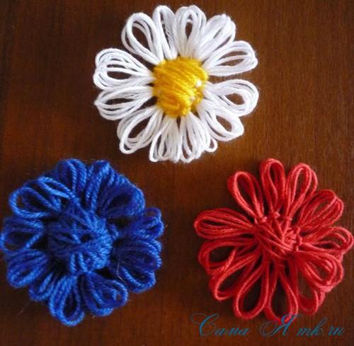 цветы из шпагата и ниток