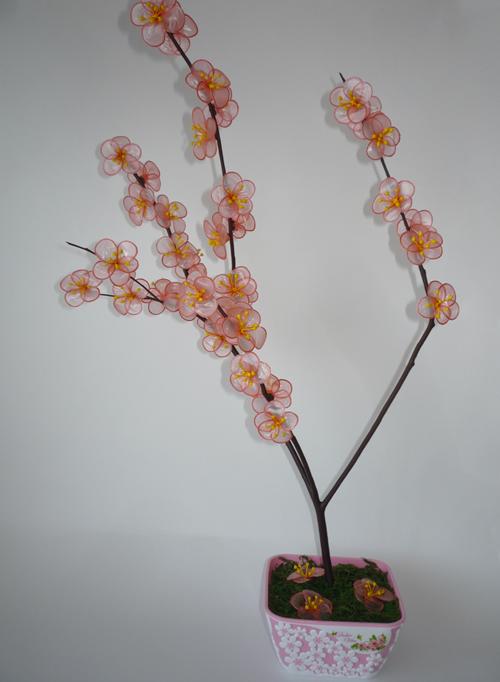 сакура цветы из полиэтиленовых пакетов