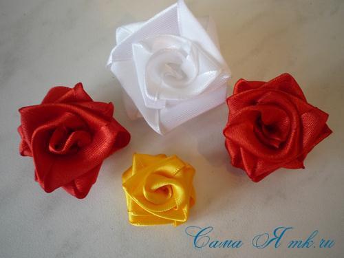 Цветы из широкой атласных лент своими руками