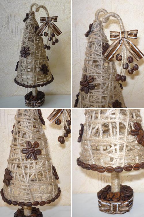 объемная ёлка из шпагата и кофейных зерен