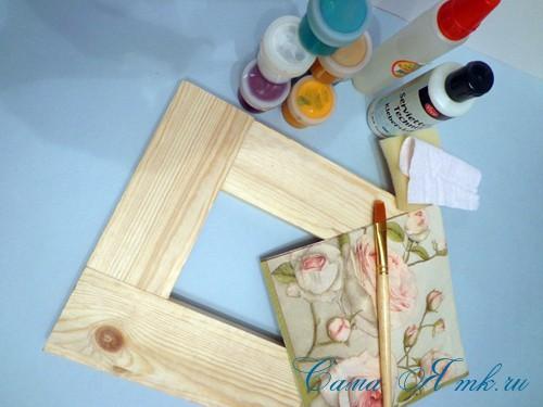 декупаж деревянной рамки для фото 1