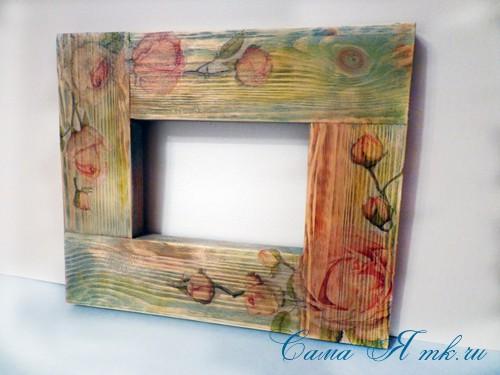декупаж деревянной рамки для фото 14