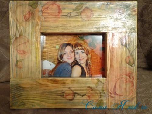 декупаж деревянной рамки для фото 16