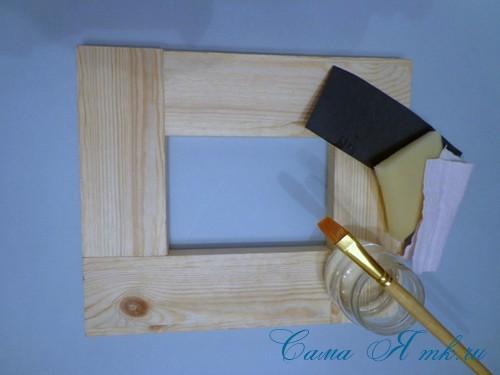 декупаж деревянной рамки для фото 2