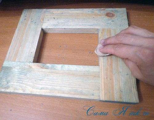 декупаж деревянной рамки для фото 4