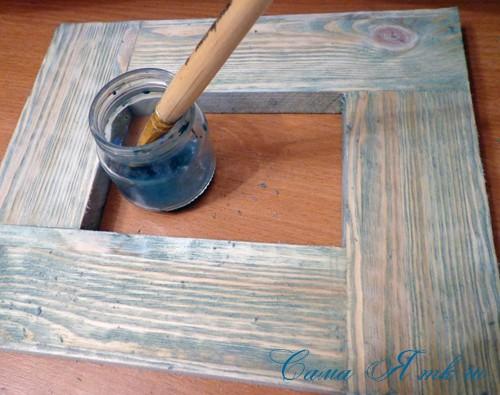 декупаж деревянной рамки для фото 5