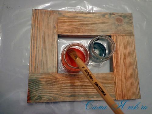 декупаж деревянной рамки для фото 6