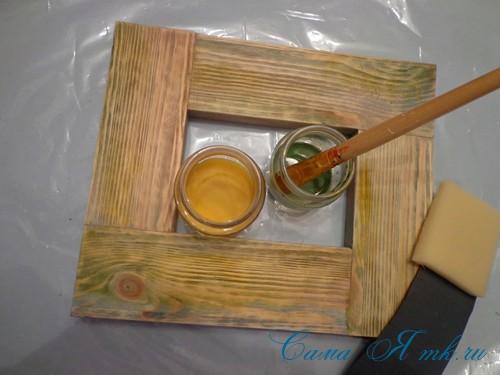 декупаж деревянной рамки для фото 7