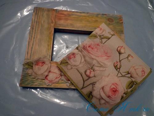 декупаж деревянной рамки для фото 8