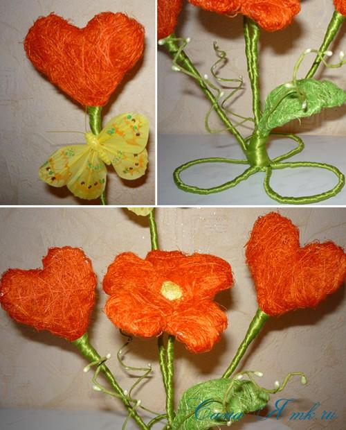 цветы из волокна сизаля