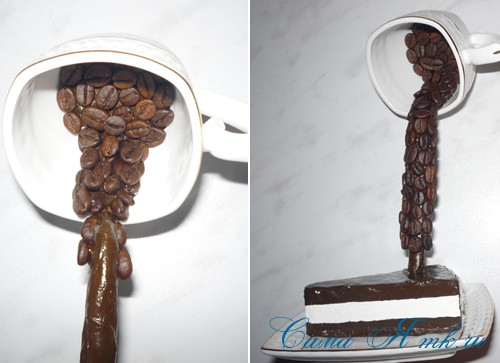 чашка проливашка с кофе и тортиком 19