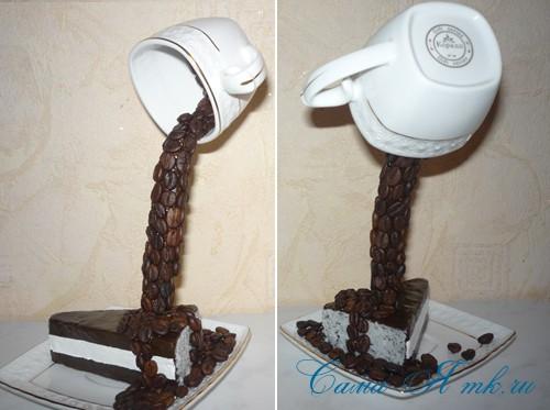 чашка проливашка с кофе и тортиком 21