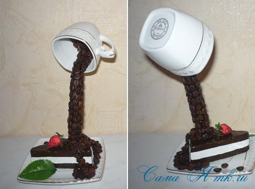 чашка проливашка с кофе и тортиком 24