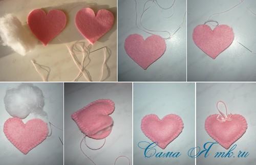 объемные сердечки из фетра