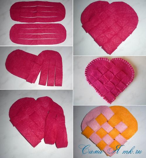 подставка под горячее в форме сердца из фетра