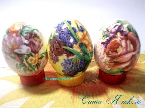 Декупаж пасхальных яиц 8