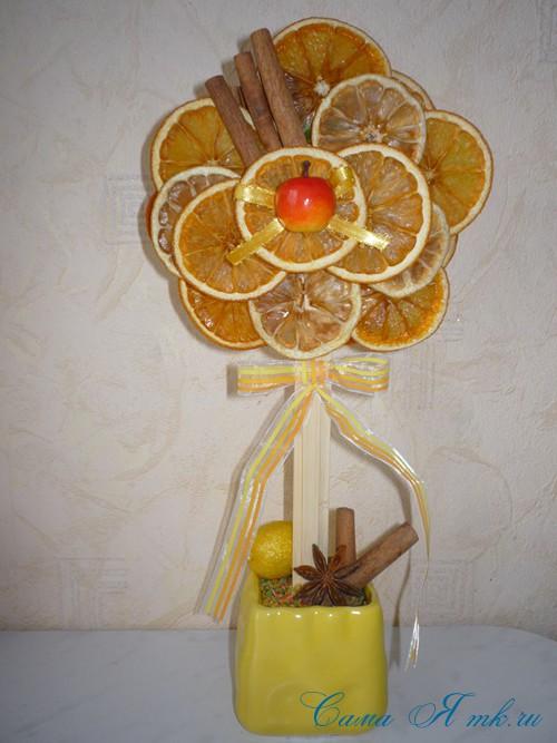 деревце топиарий из сушеных долек апельсина и лимона