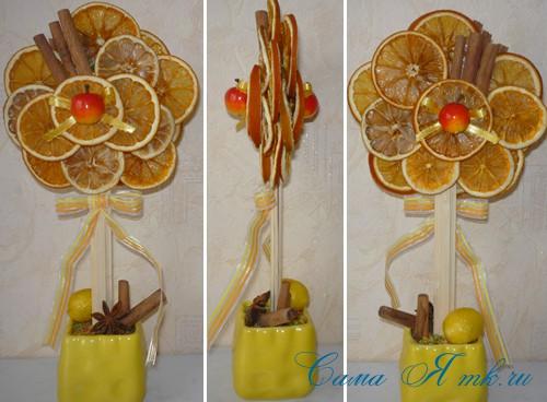 деревце-топиарий из цитрусовых фруктов