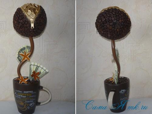 Топиарий из кофейных зерен с замочком и монетами 1