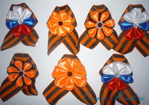 Цветы канзаши на 9 мая из атласных лент своими руками