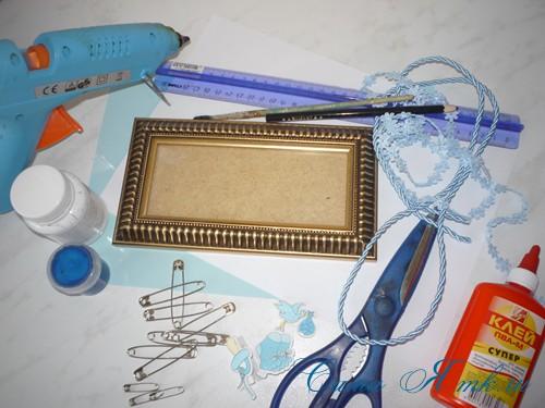 мастер-класс сувенир рамка на рождение ребенка из булавок 1