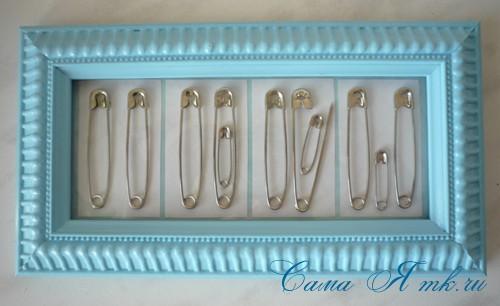 мастер-класс сувенир рамка на рождение ребенка из булавок 11