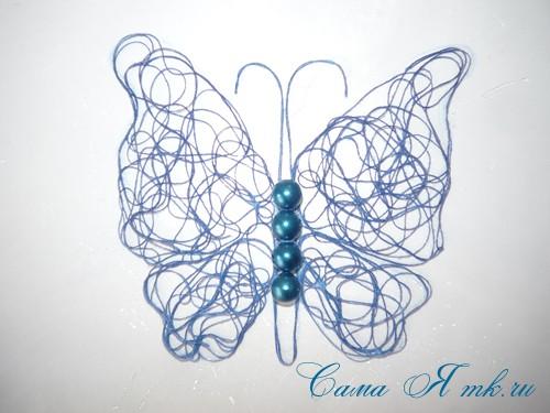 ажурная бабочка из ниток и пряжи  13