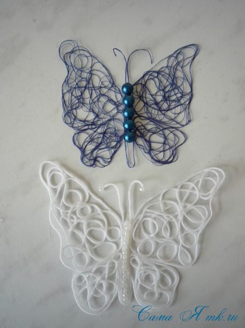 ажурная бабочка из ниток и пряжи  19