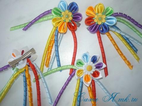 канзаши цветы из лент 1