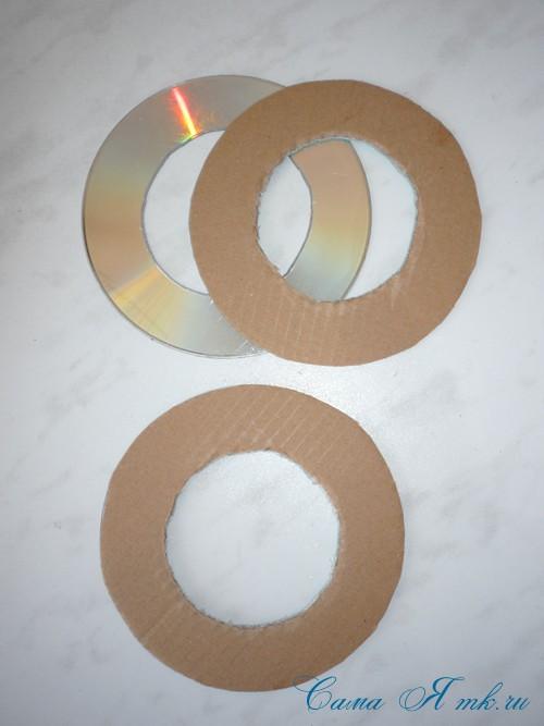 подхваты держатели для штор из CD дисков и шпагата  10
