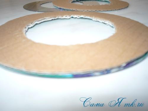 подхваты держатели для штор из CD дисков и шпагата 11