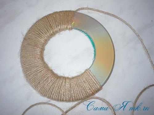 подхваты держатели для штор из CD дисков и шпагата  14