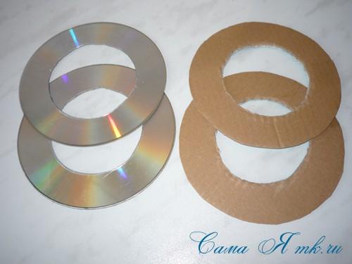 подхваты держатели для штор из CD дисков и шпагата  8