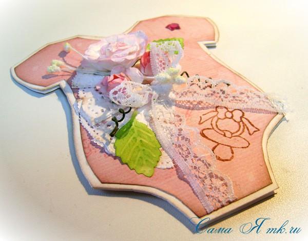открытка бодик новорожденному скрапбукинг