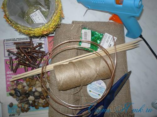 топиарий с торцовками из мешковины и шпагата для бани 1
