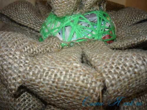 топиарий с торцовками из мешковины и шпагата для бани 20