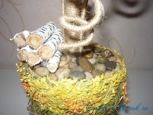 топиарий с торцовками из мешковины и шпагата для бани 30