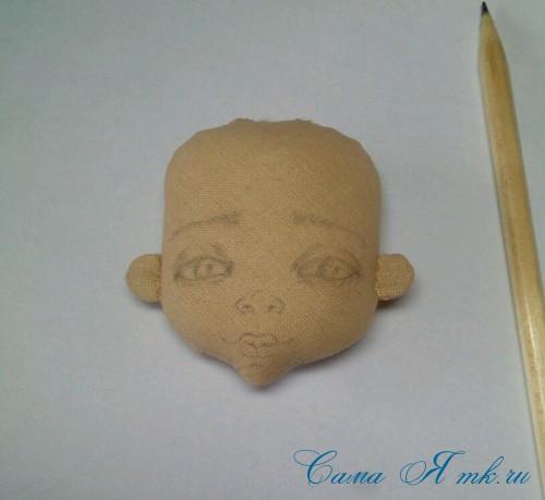 как нарисовать лицо текстильной кукле 1