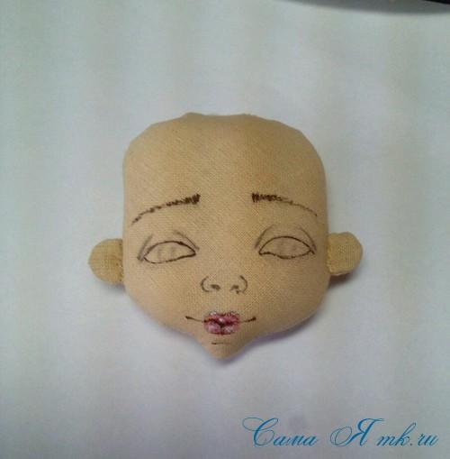 как нарисовать лицо текстильной кукле 2