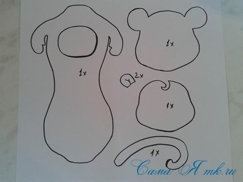шаблон обезьянки из фоамирана с конфеткой (Copy)
