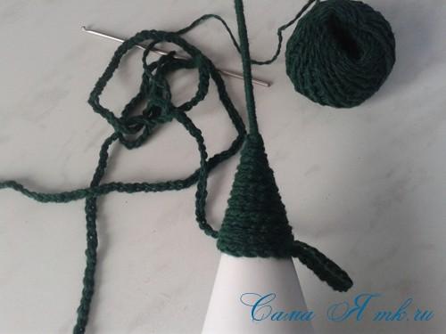 ёлочка из пряжи из воздушных петель крючком 10 (Copy)