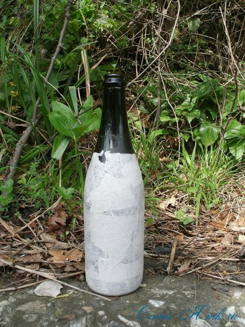 бутылка от шампанского в технике пейп-арт 2