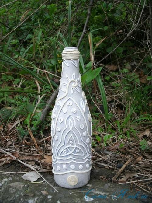 бутылка от шампанского в технике пейп-арт 6