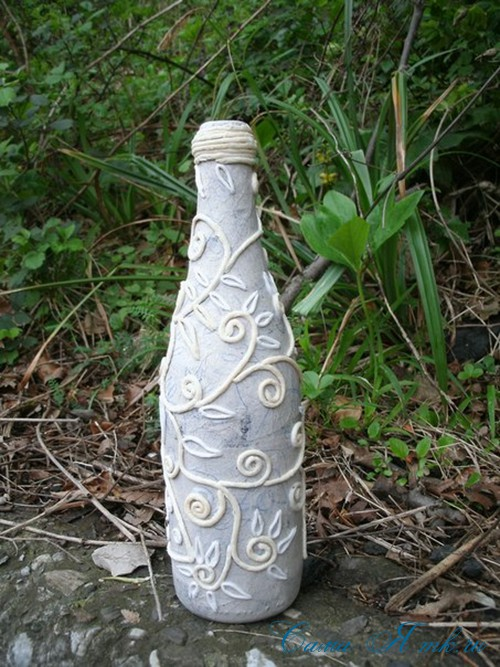 бутылка от шампанского в технике пейп-арт 7