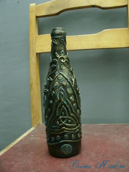 бутылка от шампанского в технике пейп-арт 8