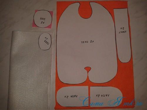 кот амур из фетра или флиса своими руками выкройка мастер-класс и описание 3