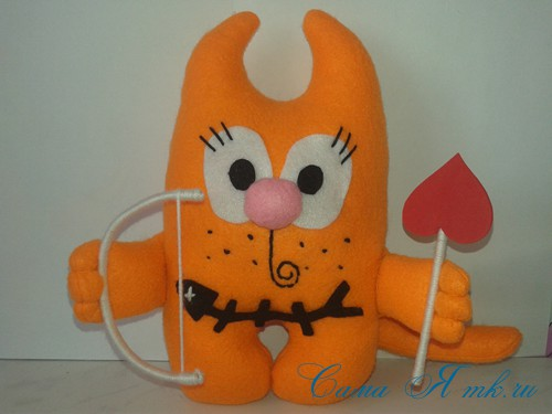 кот амур из фетра или флиса своими руками выкройка мастер-класс и описание 34