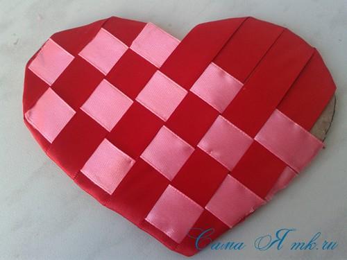 сердечки из атласных лент ко дню святого валентина своими руками 14